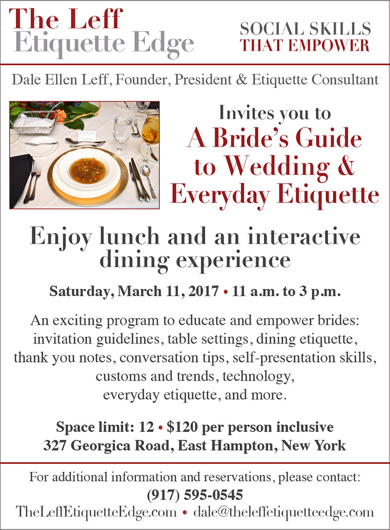 The Leff Etiquette Edge Wedding Guide March 2017 Event