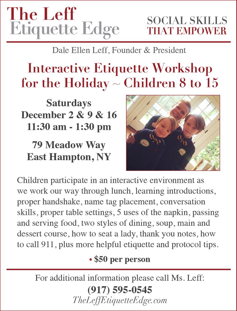 Etiquette workshops December 2017