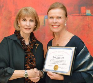 Peggy Newfield, founder of The American School of Protocol congratulates Dale Ellen Leff on her Corporate Etiquette Certification
